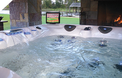 Using the iPad mount in the Legend Series Spa, you can enjoy movies as you relax.