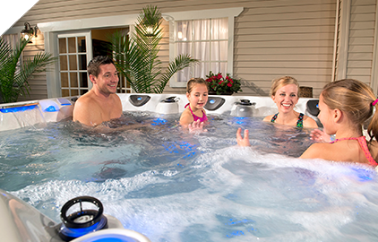 It's easier to find time to spend with your family in a hot tub